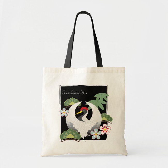 Japanese Lucky Symbols White Crane Cool Cute Black