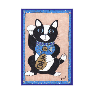 Japanese Lucky Tuxedo Cat Maneki Neko Folk Art Canvas Print