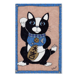 Japanese Lucky Tuxedo Cat Maneki Neko Folk Art Poster