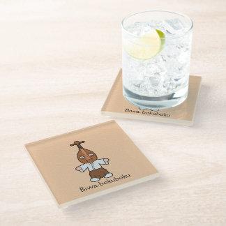Japanese Lute Man Biwa-bokuboku: Cartoon Youkai Glass Coaster