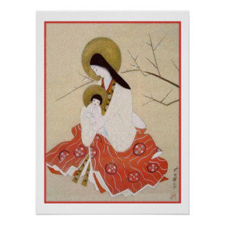 Japanese Madonna and Child Vintage Poster
