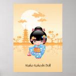 Japanese Maiko Kokeshi Doll Print