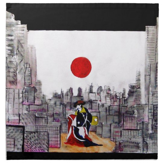 Japanese man in A Japanese landscape Napkin