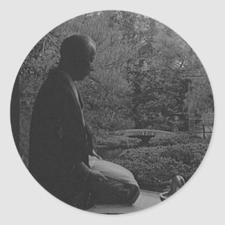 Japanese Man Kneeling in Quiet Contemplation Classic Round Sticker