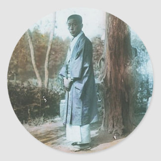 Japanese Man Vintage Hand-Colored Photograph Classic Round Sticker