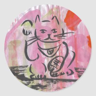 Japanese Maneki Neko Classic Round Sticker