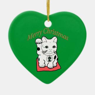 Japanese Maneki Neko Lucky Cat Christmas Ornament