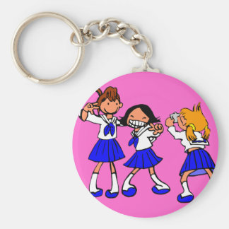 Japanese MANGA high-school girls Basic Round Button Keychain