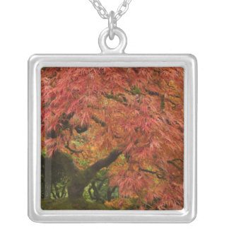 Japanese maple in fall color personalized necklace