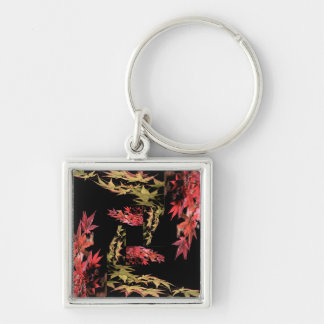 Japanese Maple Keyring Silver-Colored Square Keychain