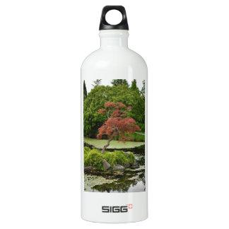 Japanese maple tree and garden pond aluminum water bottle