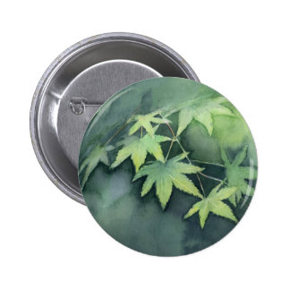 Japanese Maple Watercolor Button