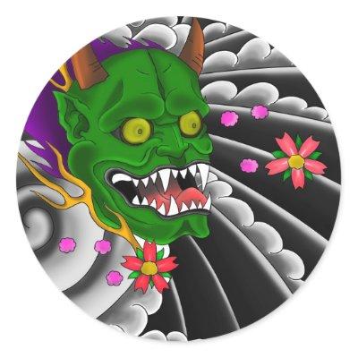 japanese mask tattoo design round sticker by tattoogear