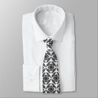 Japanese Medallion Pattern, Black and White Neck Tie