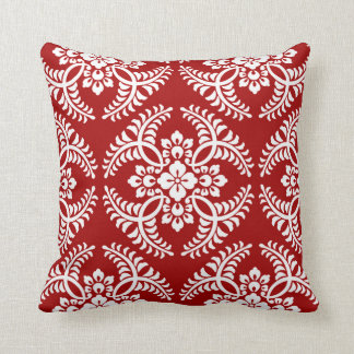 Japanese Medallion Pattern, Deep Red and White Throw Pillow