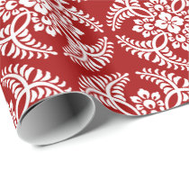 Japanese Medallion Pattern, Deep Red and White Wrapping Paper