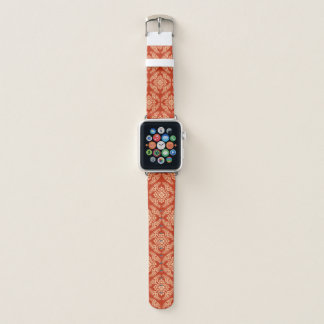 Japanese Medallion Pattern, Mandarin Orange Apple Watch Band