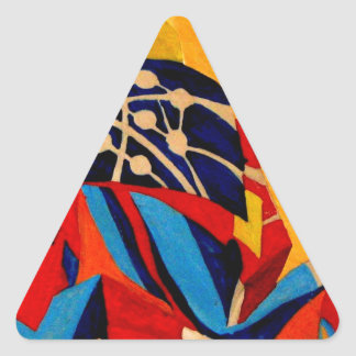 japanese men in traditional clothes triangle sticker