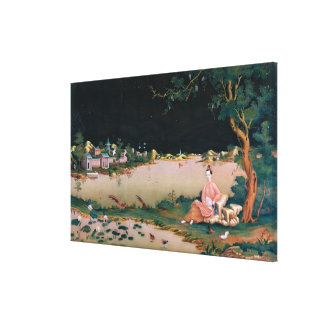 Japanese mirror painting showing a girl seated canvas print