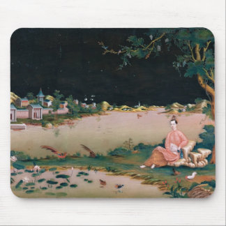 Japanese mirror painting showing a girl seated mouse pad