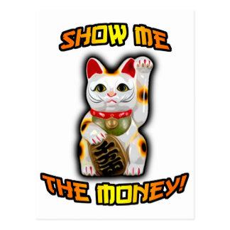 JAPANESE Money CAT Maneki Neko Postcard