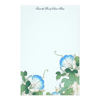 Japanese Morning Glory Flowers Floral Stationery