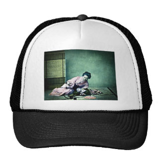 Japanese Mother and Baby Vintage Magic Lantern Trucker Hat