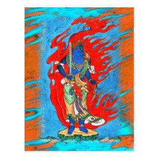 Japanese Mythological Blue Buddhist Figure Postcard