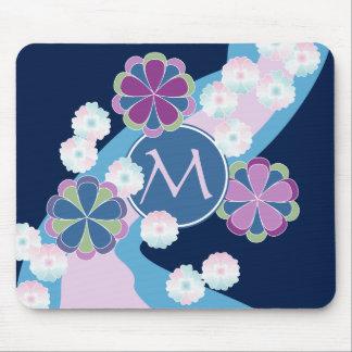 Japanese Nagarekiku Chrysanthemum River Floral Mouse Pad