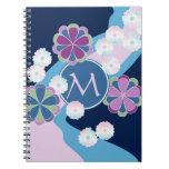 Japanese Nagarekiku Chrysanthemum River Floral Spiral Notebooks