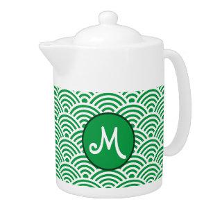 Japanese Nami Wave Pattern With Monogram Teapot Zazzle Com