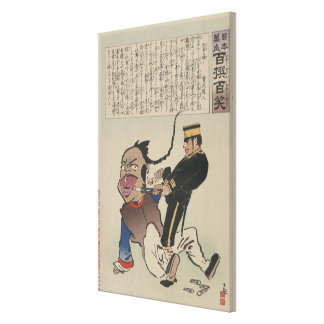 Japanese Naval Officer pulling Chinese Man's Tooth Canvas Print