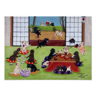 Japanese New Year's Day Labradors Artwork Poster