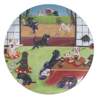 Japanese New Year's Day Labradors Melamine Plate