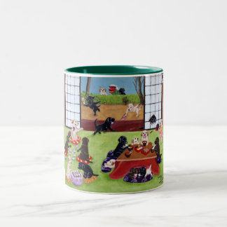 Japanese New Year's Day Labradors Two-Tone Coffee Mug