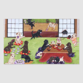 Japanese New Year's Day Labradors Rectangular Sticker