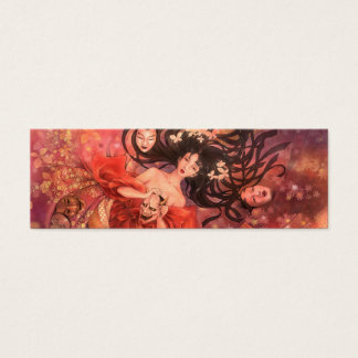Japanese Noh Mask Fantasy Art Bookmark Mini Business Card