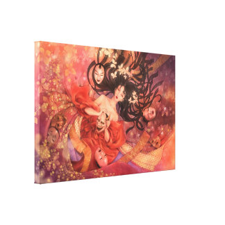 Japanese Noh Mask Fantasy Art Canvas Print