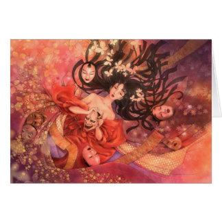 Japanese Noh Mask Fantasy Art Greeting Card