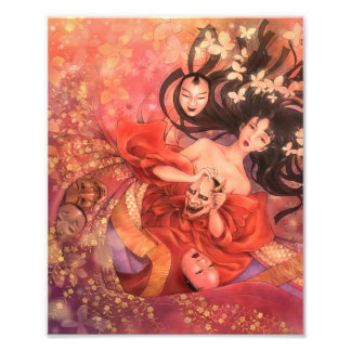 Japanese Noh Mask Fantasy Art Photo Print
