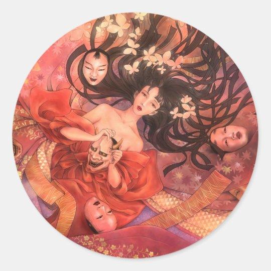 Japanese Noh Mask Fantasy Sticker