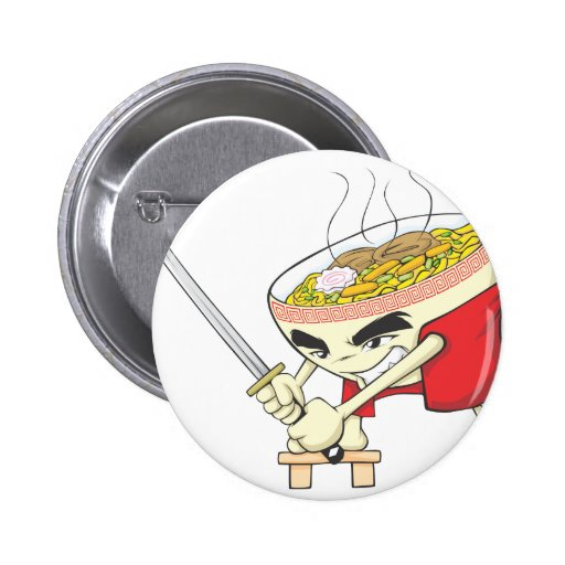 Japanese Noodle Soup Fighter with Samurai Sword Pinback Button