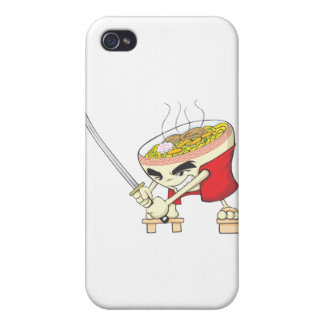 Japanese Noodle Soup Fighter with Samurai Sword iPhone 4 Covers