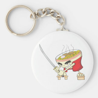 Japanese Noodle Soup Fighter with Samurai Sword Keychain