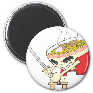 Japanese Noodle Soup Fighter with Samurai Sword Magnet