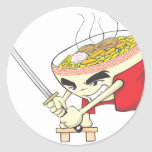 Japanese Noodle Soup Fighter with Samurai Sword Classic Round Sticker