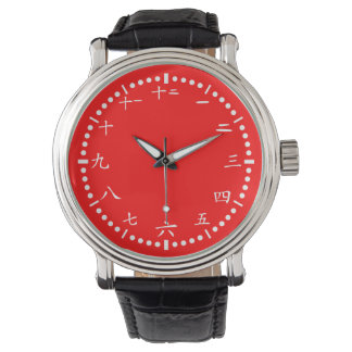 Japanese numbers red background wrist watches