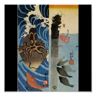 Japanese Octopus and Fish c. 1800's (Japan) Poster