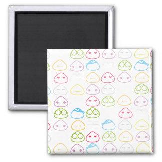 Japanese Onigiri Fluo Pattern 2 Inch Square Magnet