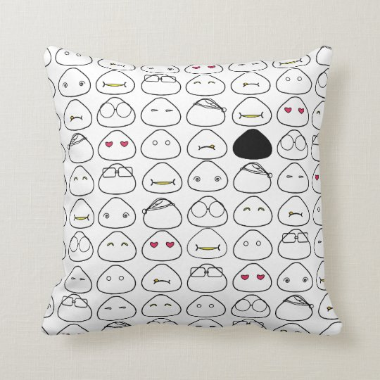 Japanese Onigiri Fluo Pattern Throw Pillow